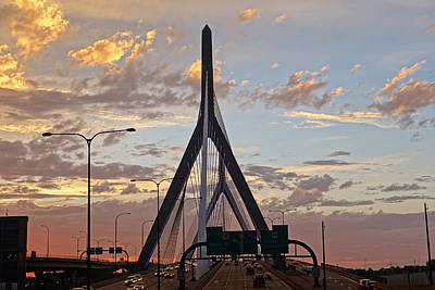 Photograph - Cars On The Move- Lenny Zakim Bridge Sunset by Toby McGuire