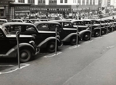1930s Candid Photograph - Cars Parked Diagonally Along Parking by Everett