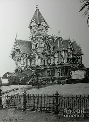 Hand Crafted Drawing - Carson Mansion by Adrienne Deines