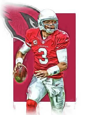 Mixed Media - Carson Palmer Arizona Cardinals Oil Art by Joe Hamilton