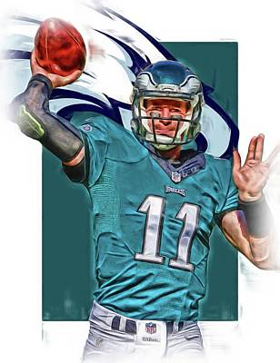 Eagle Mixed Media - Carson Wentz Philadelphia Eagles Oil Art 2 by Joe Hamilton