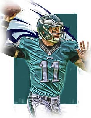 Team Mixed Media - Carson Wentz Philadelphia Eagles Oil Art by Joe Hamilton
