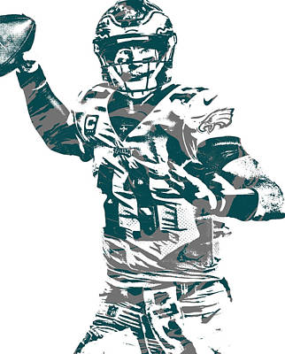 Mixed Media - Carson Wentz Philadelphia Eagles Pixel Art 21 by Joe Hamilton