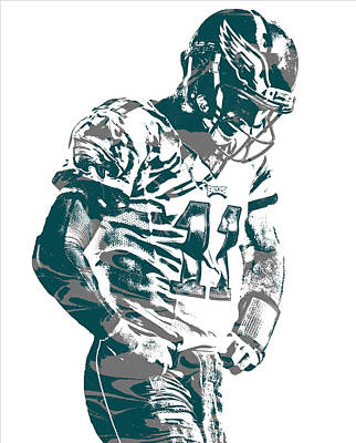 Mixed Media - Carson Wentz Philadelphia Eagles Pixel Art 22 by Joe Hamilton