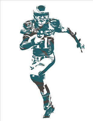 Mixed Media - Carson Wentz Philadelphia Eagles Pixel Art 5 by Joe Hamilton