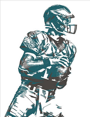 Philadelphia Mixed Media - Carson Wentz Philadelphia Eagles Pixel Art 7 by Joe Hamilton