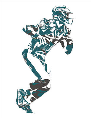 Mixed Media - Carson Wentz Philadelphia Eagles Pixel Art 8 by Joe Hamilton