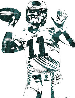 Philadelphia Mixed Media - Carson Wentz Philadelphia Eagles Pixel Art by Joe Hamilton