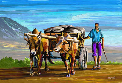 Painting - Cart Man by Anthony Mwangi