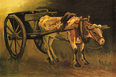 Bullock-cart Painting - Cart With Red And White Ox, 1884 by Vincent Van Gogh
