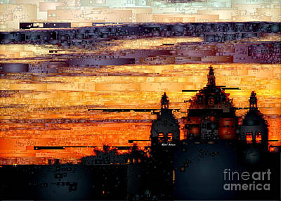 Digital Art - Cartagena Colombia Night Skyline by Rafael Salazar