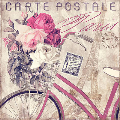 Rose Tower Painting - Carte Postale Bicycle by Mindy Sommers
