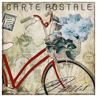 Transportation Royalty-Free and Rights-Managed Images - Carte Postale Vintage Bicycle by Mindy Sommers