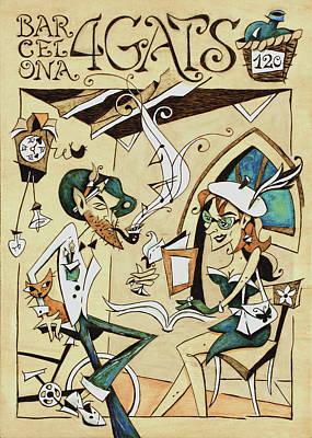Pyrography Drawing - Cartell 120 Aniversari Restaurant Els Quatre Gats Barcelona by Arte Venezia