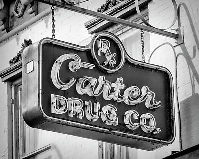Photograph - Carter Drug Co - Bw by Stephen Stookey