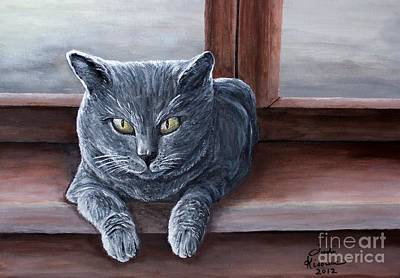 Cats Painting - Carthusian Cat by Judy Kirouac