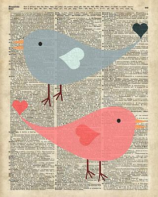 Valentines Day Digital Art - Cartoon Birds In Love  by Jacob Kuch