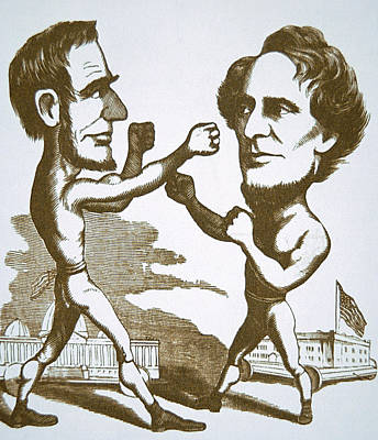 Abraham Lincoln Drawing - Cartoon Depicting Abraham Lincoln Squaring Up To Jefferson Davis by American School