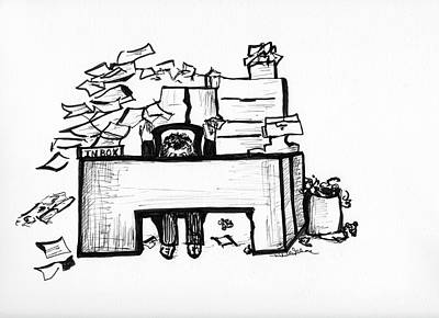 Drawing - Cartoon Desk by Michelle Gilmore