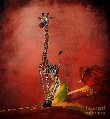 Digital Art - Cartoon Giraffe by Barbara Milton