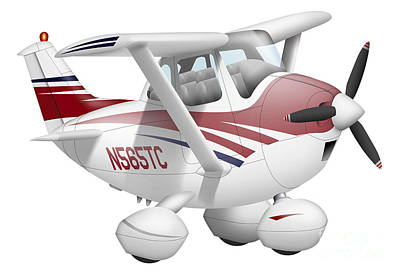 Cartoon Illustration Of A Cessna 182 Art Print by Inkworm