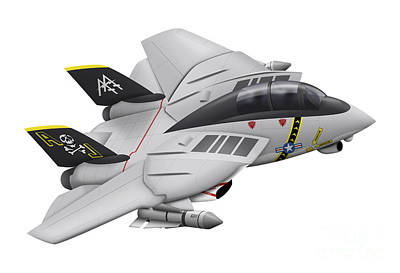 Cartoon Illustration Of A F-14 Tomcat Art Print by Inkworm