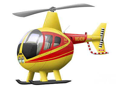 Cartoon Illustration Of A Robinson R44 Art Print by Inkworm