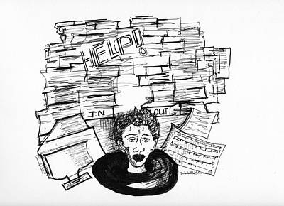 Drawing - Cartoon Inbox by Michelle Gilmore