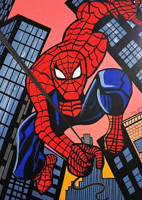 Cartoon Spiderman Art Print by Nora Shepley