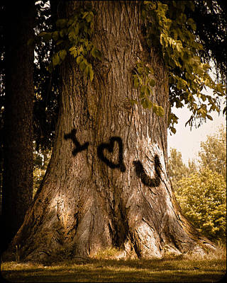 Carve I Love You In That Big White Oak Art Print by Trish Tritz