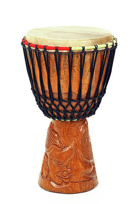 Musical Instruments Wall Art - Photograph - Carved African Djembe Drum by GoodMood Art