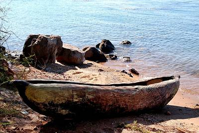 Photograph - Carved Boat At Lake Malawi 02 by Dora Hathazi Mendes