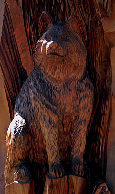 Cat Wood Carving Photograph - Carved Bobcat by LeeAnn McLaneGoetz McLaneGoetzStudioLLCcom