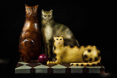 Photograph - Carved Cats by James DeMers