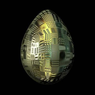 Algorithmic Digital Art - Carved Golden Patterned Egg by Hakon Soreide