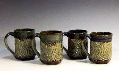 Ceramic Art - Carved Mugs by Stephen Hawks