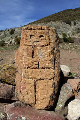 Photograph - Carved Stone Figure On Isla Del Sol by Aidan Moran