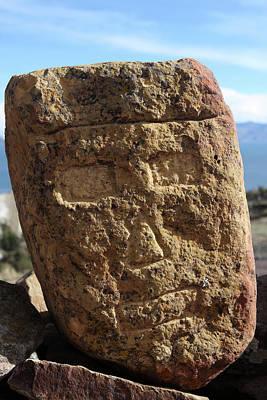 Photograph - Carved Stone Head, Isla Del Sol, Lake Titicaca by Aidan Moran