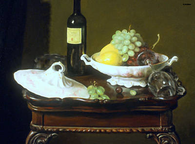Painting - Carved Tea Table Still Life by Robert Holden