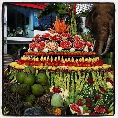 Art Print featuring the photograph Carved Watermelon, Surin Elephant by Mr Photojimsf