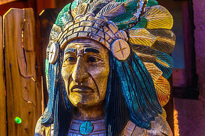 Peeling Painted Wood Wall Art - Photograph - Carved Wooden Indian by Garry Gay
