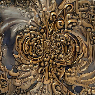 Digital Art - Carved Wooden Pattern by Bruce Rolff
