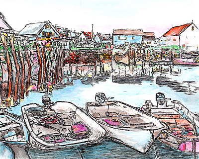 Drawing - Carvers Harbour With Boats , Vinal Haven,  Maine by Michele Loftus