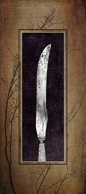 Carving Set Knife Triptych 2 Art Print by Tom Mc Nemar