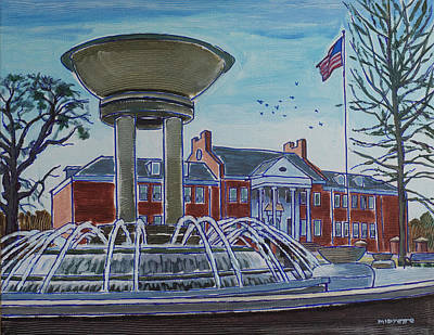 Painting - Cary Arts Center And Fountain by Tommy Midyette