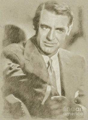 Star Trek Drawing - Cary Grant Hollywood Actor by Frank Falcon