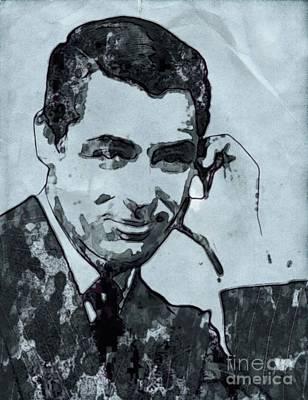 Thriller Digital Art - Cary Grant Hollywood Actor by Mary Bassett
