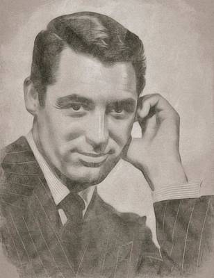 Celebrity Drawing - Cary Grant Hollywood Icon by John Springfield