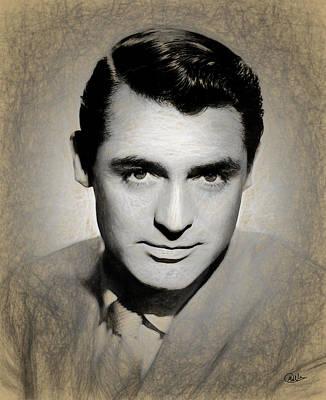 Portraiture Digital Art - Cary Grant Draw by Quim Abella