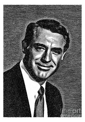 Musicians Drawings - Cary Grant, Vintage Actor by JS by Esoterica Art Agency